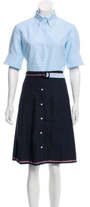 Thom Browne Short-Sleeve Wool Shirt Dress