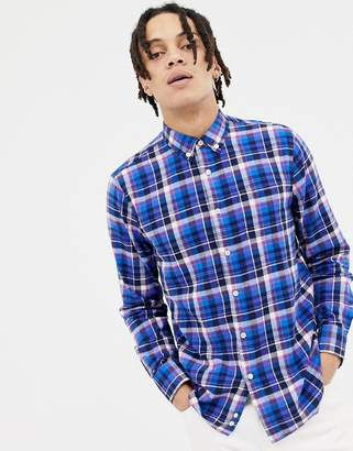 Penfield Barhead multi flannel check buttondown regular fit shirt in blue