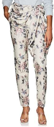 Y/Project Women's Ruched Floral Cotton-Blend Jacquard Trousers - Pink