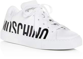 Moschino Women's Monochrome Logo Leather Lace Up Sneakers