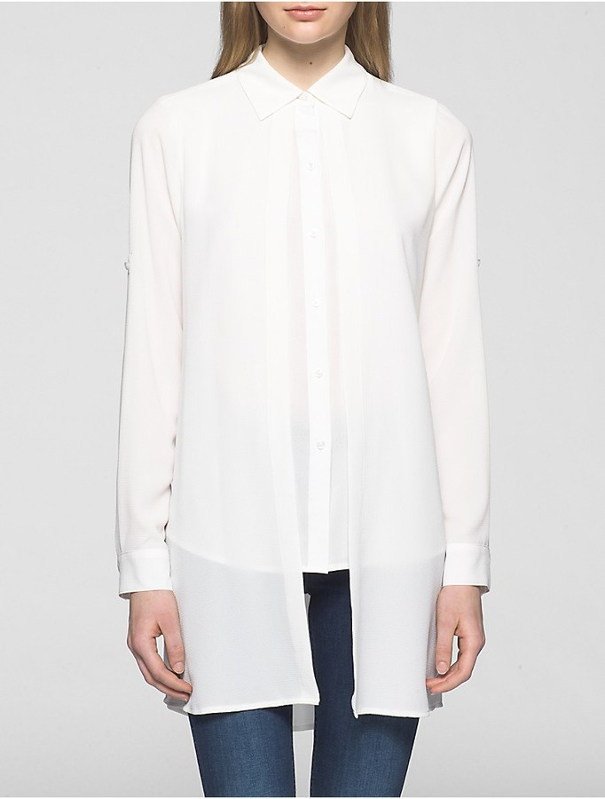 Calvin Klein Crepe Chiffon Double Layer Roll-Sleeve Tunic
