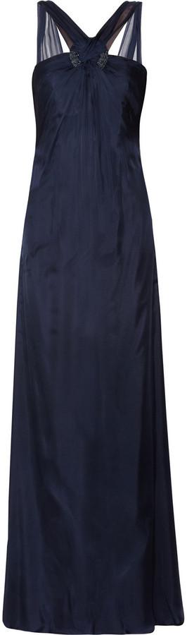 Mikael Aghal Chiffon and satin maxi dress