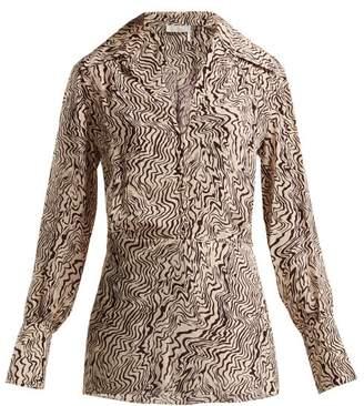 Chloé Wave Print V Neck Silk Blouse - Womens - Brown Print