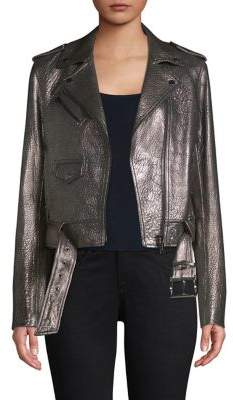 MICHAEL Michael Kors Metallic Leather Moto Jacket
