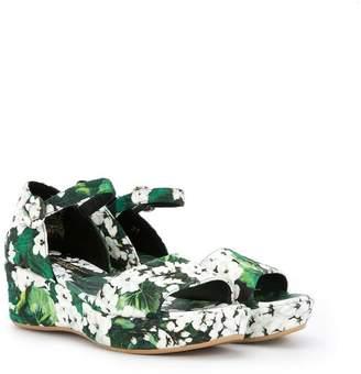 Dolce & Gabbana white geranium printed platform sandals