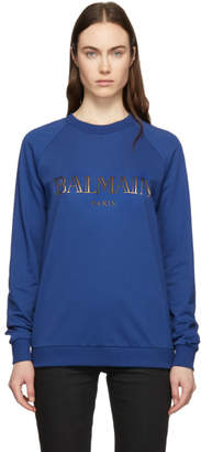 Balmain Indigo and Gold Logo Sweatshirt