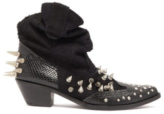 Junya Watanabe Spiked Suede And Snake Effect Leather Boots - Womens - Black