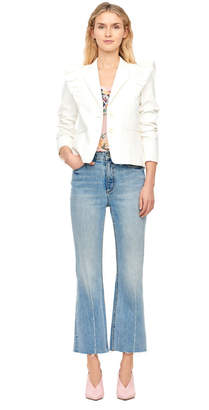 Rebecca Taylor Slub Suiting Ruffle Jacket