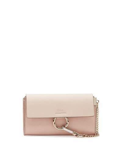 Chloé Chloe Faye Leather Wallet-on-a-Strap, Light Pink