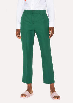 Paul Smith Women's Slim-Fit Dark Green Linen Pants