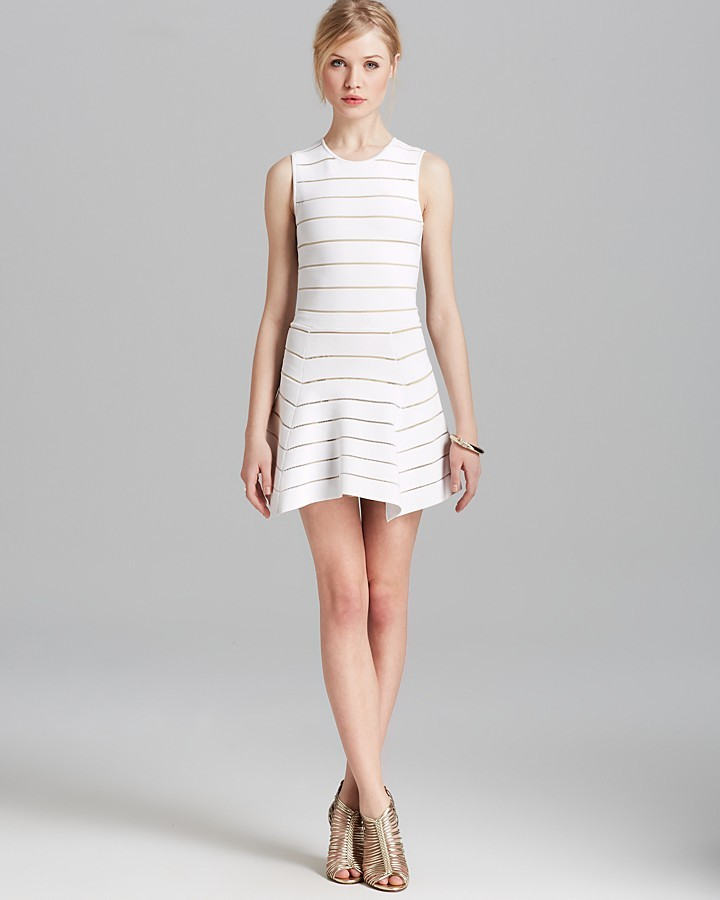 Torn By Ronny Kobo Dress - Aubrey Bandage Sheer Stripes