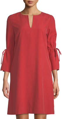 Lafayette 148 New York Deandra V-Neck Silk Cloth Dress, Red