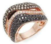 Effy 14K Rose Gold, Diamond & Black Diamond Ring