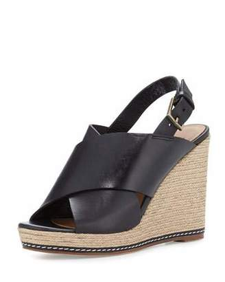 Andre Assous Cora Leather Espadrille Wedge Sandal, Black $229 thestylecure.com