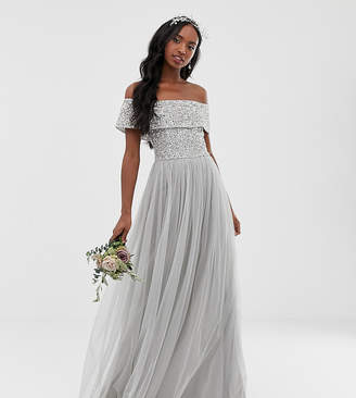 Bardot Maya Tall Bridesmaid maxi tulle dress with tonal delicate sequins in soft grey