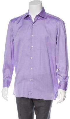Isaia Spread Collar Button-Up Shirt