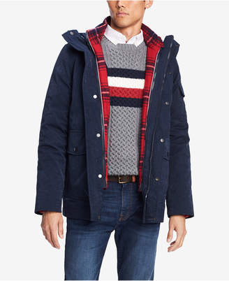 Tommy Hilfiger Men's Traveler Hooded Coat with Removable Plaid Jacket