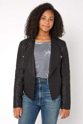 BB Dakota Drape Front Vegan Moto Jacket
