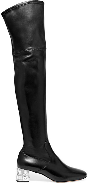 Miu Miu - Crystal-embellished Leather Over-the-knee Boots - Black