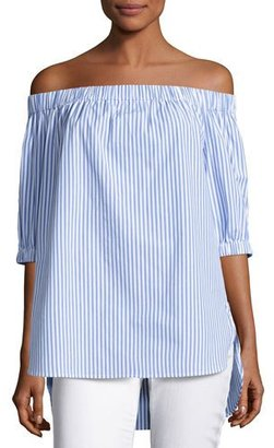 MICHAEL Michael Kors Off-the-Shoulder Striped Shirting Blouse, Oxford Blue $88 thestylecure.com
