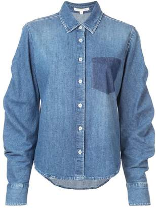 Jonathan Simkhai denim tucked sleeve shirt