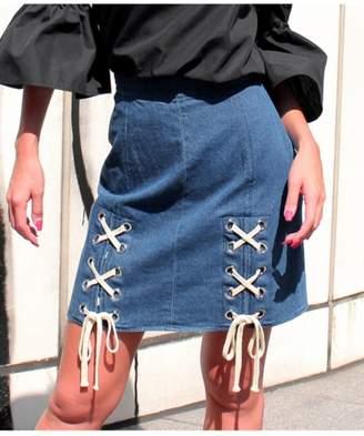 ANAP (アナップ) - アナップ [Latina]Wレースアップデザイン台形スカート