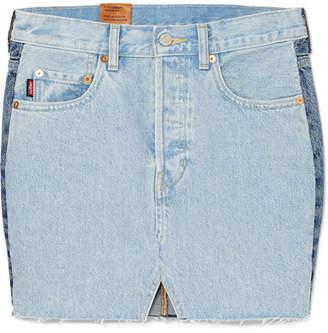 Vetements Levi's Patchwork Denim Mini Skirt - Light denim