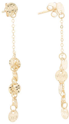 Made In Italy 14k Gold Hammered Disc Linear Earrings
