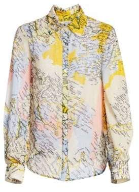 Derek Lam 10 Crosby Map Print Blouse