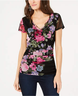 INC International Concepts I.n.c. Ruched Floral-Print T-Shirt
