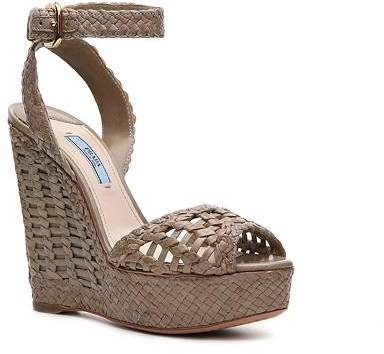 Prada Woven Leather Wedge Sandal
