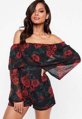 Missguided Black Dark Floral Double Layer Bardot Romper