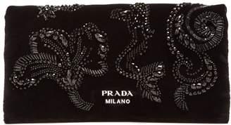 Prada Mermaid bead-embellished velvet clutch