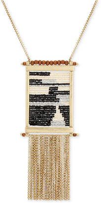 """Lucky Brand Gold-Tone Bead & Chain Fringe 30"""" Statement Necklace"""