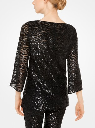 Michael Kors Zebra Sequined Stretch-Tulle Tunic