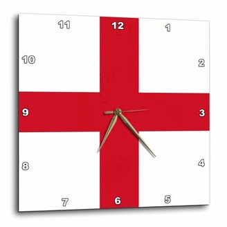 3dRose Flag of England - English Red St Georges Cross on white - United Kingdom British UK Great Britain, Wall Clock, 10 by 10-inch