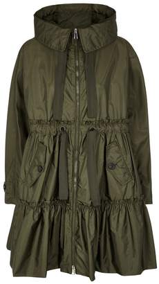 Moncler Turquoise Olive Tiered Shell Coat
