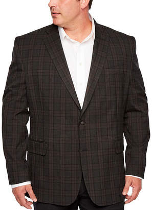 STAFFORD Stafford Year Round Stretch Classic Fit Windowpane Sport Coat Big and Tall