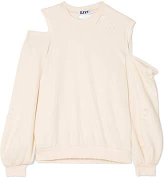 Sjyp Oversized Distressed Cutout Stretch-jersey Sweatshirt