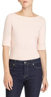 Lauren Ralph Lauren Ribbed Cotton Boatneck T-Shirt