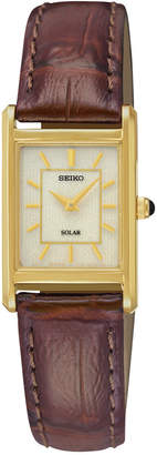 Seiko Women Solar Brown Leather Strap Watch 18mm SUP252