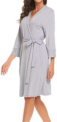 +Hotel by K-bros&Co Bluetime Women's Cotton Robe for Bride and Bridesmaid Short Plus Size (M, )