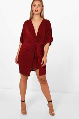 boohoo Plus Knot Kimono Sleeve Bodycon Dress