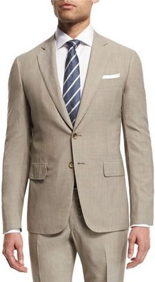 Isaia Narrow-Stripe Two-Piece Wool Suit, Khaki $3,495 thestylecure.com