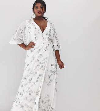 6b986070fdd82 Maya Plus wrap front floral embellished maxi dress in white