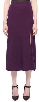 Altuzarra Cavin Front-Slit Midi Cashmere Knit Skirt