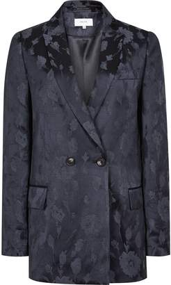 Reiss Peony Jacket - Jacquard Double-breasted Blazer in Navy
