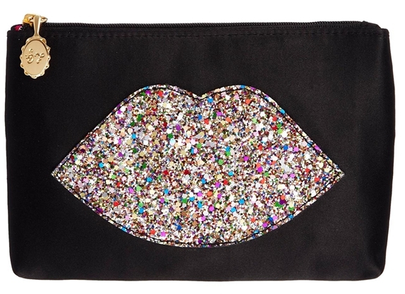 Lulu Guinness Multi Glitter Lip Top Zip