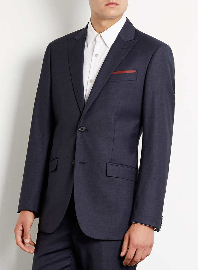 Topman Navy Textured Slim Fit Suit Jacket
