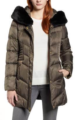 Via Spiga Faux Fur Trim Puffer Jacket